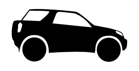 Isolated silhouette of small offroad  SUV  car  Vector