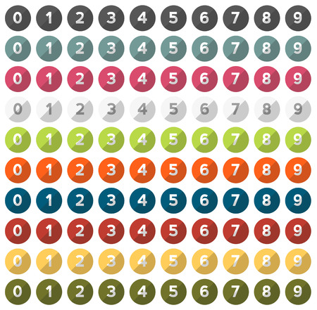 Isolated set of 0 - 9 numbers in 10 different colors in flat design style