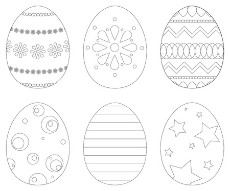 coloring book page: Collection of 6 isolated Easter eggs in coloring book style Illustration