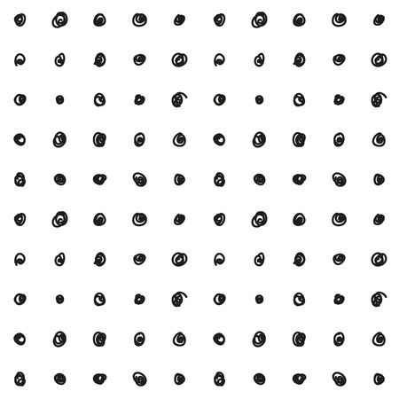 Seamless hand drawn black polka dot pattern on white background  Иллюстрация