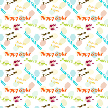ostern: Seamless colorful pattern wishing Happy Easter in 6 languages