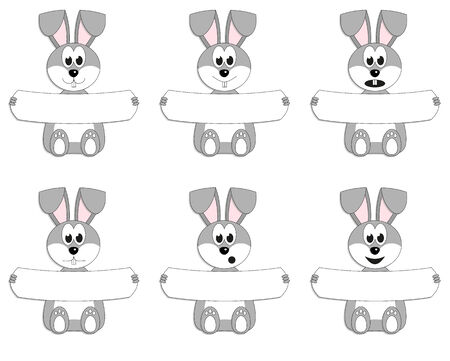 Collection of 6 Easter bunnies in different moods with blank sign with place for your text Vector