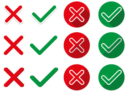 ok: 6 pairs of isolated ok and not ok symbols - in simple, sticker and flat style Illustration