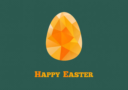 Happy Easter card with egg in triangular style on dark background Vector
