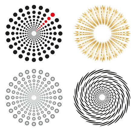 Set of 4 isolated design elements in different colors Vector