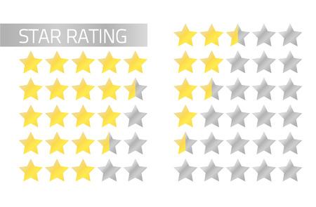 Geïsoleerde sterbeoordeling in vlakke stijl van 5 tot 0 sterren vol en half sterren