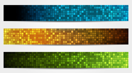 Set of 3 isolated banners  headers  in different colors Ilustração