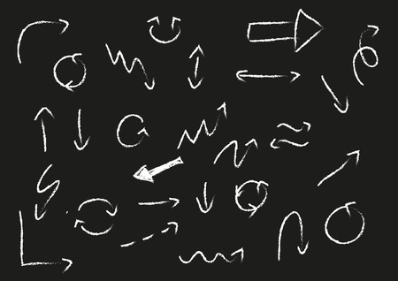 Big set of different doodle chalk arrows on blackboard Vector