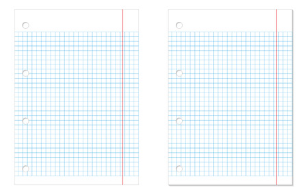 Set of 2 isolated white squared paper sheets - without and with shadow Vector
