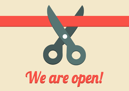 Flat illustration of scissors cutting red ribbon with text We are open