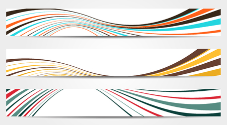Set of 3 isolated banners with waves in vintage colors Vector
