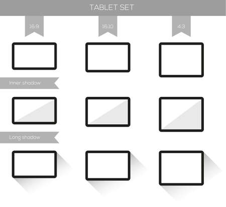 Set of tablet illustrations in different resolutions and different shadows Vector