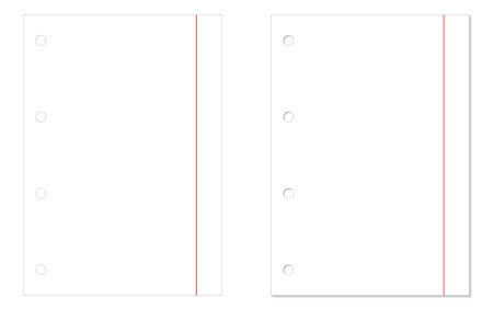 paper sheets: 2 isolated blank paper sheets - one without shadow and one with shadow