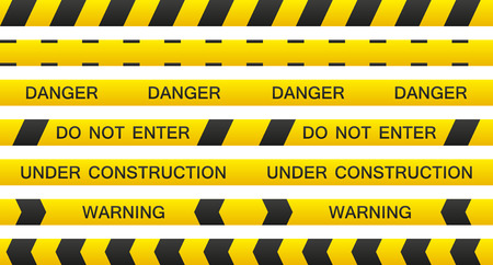 Set of 7 isolated seamless warning tapes with and without text Vector