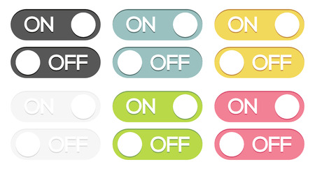 Set of 6 isolated colorful on - off switches Vector