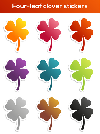 Set of 9 isolated colorful four-leaf clover stickers Vector