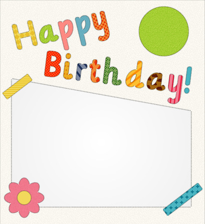Happy birthday card with sewn details and a lot of space for your text Vector
