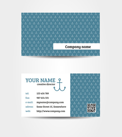 Isolated double sided bussines  visiting  card in marine style Illustration