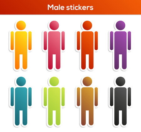 Set of 8 isolated colorful male stickers Vector