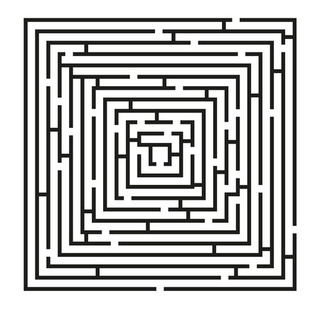 Isolated black square maze with solution included in eps in hidden layer Vector