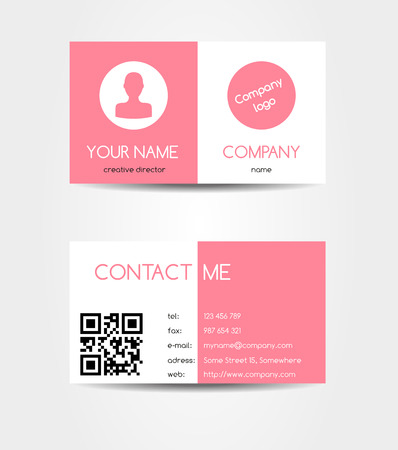 visiting card: Isolated two sided business card in flat pink design