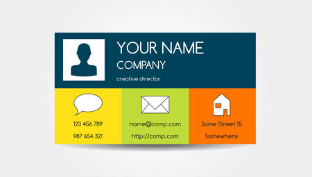 Isolated one sided business card in colorful flat design