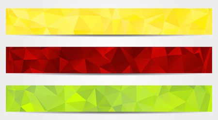 Set of 3 isolated abstract banners in triangular style Vector