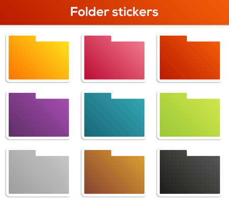 website button: Set of 9 isolated folder stickers in different colors
