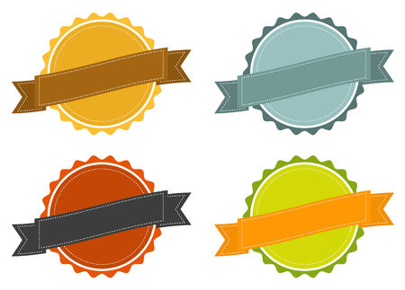 Set of 4 isolated badges in vintage colors Vector