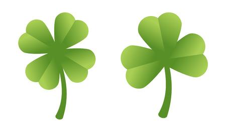 fourleaf: Isolated four-leaf clover and three-leaf clover Illustration