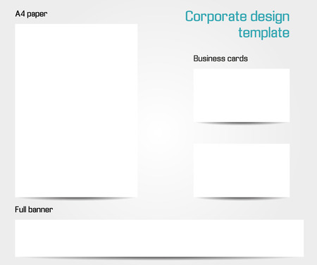Corporate design template - isolated set of A4 paper, business card and full banner mock up Vector