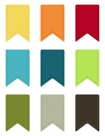 Set of 9 isolated colorful ribbons with light shadow Vector