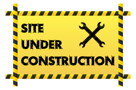 Isolated Site under construction banner with two crossed wrenches Vector