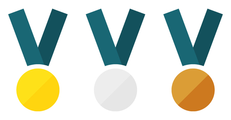 Set of 3 isolated medals  gold, silver, bronze  in flat style Vector