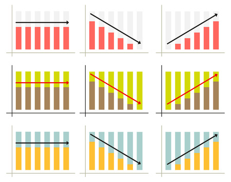 Set of 3 isolated infographic graphs for3 different situations in 3 color schemes