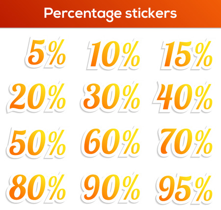 60 70: Isolated set of 14 percentage stickers - 5, 10, 15, 20, 30, 40, 50, 60, 70, 80, 90 and 95