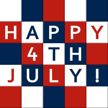 4th of july: Happy 4th July card in colors of USA flag Illustration