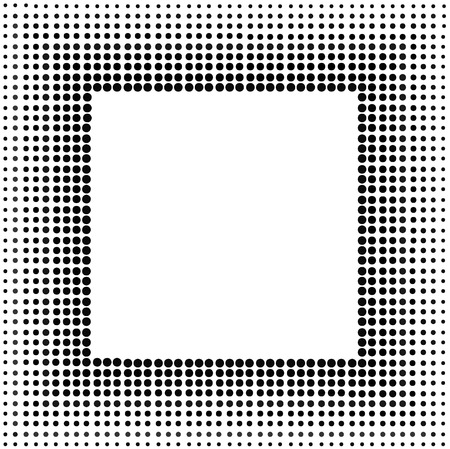 Isolated square style halftone black and white frame Vector