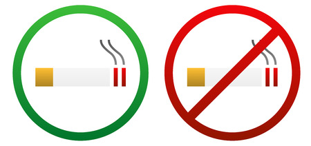 Two isolated signs for smoke allowed and not allowed Stock Vector - 28440768