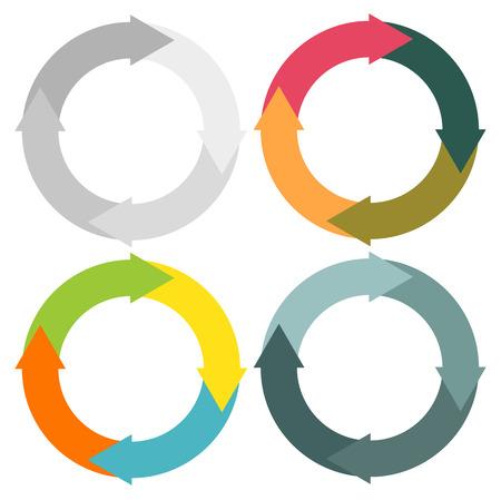 一連の異なった色彩の配合で 4 分離円形矢印  イラスト・ベクター素材