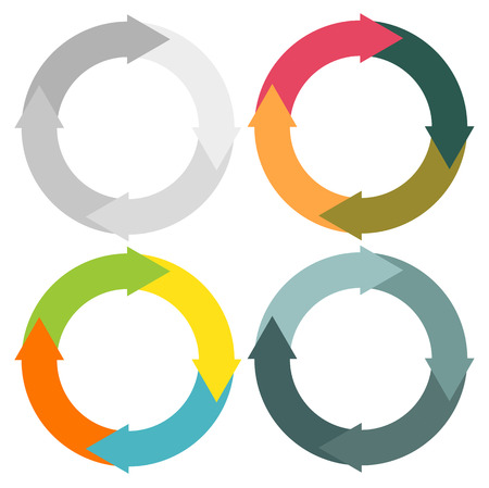 Set of 4 isolated circular arrows in different color schemes Ilustração