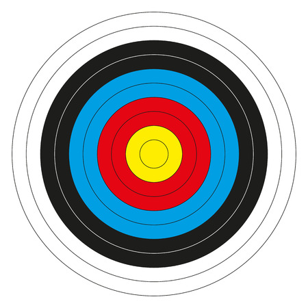Isolated colorful bullseye target without score numbers