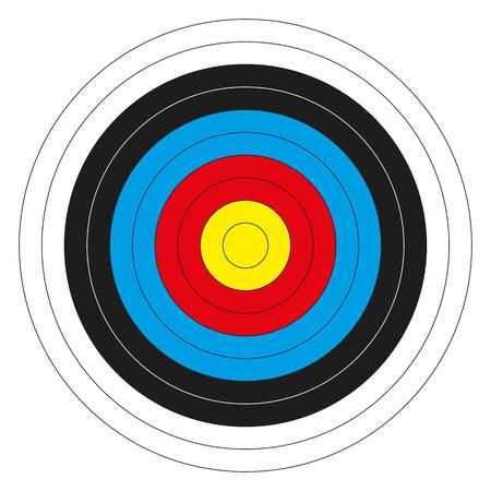 bullseye: Isolierte bunte Bullseye Ziel ohne Partitur Zahlen