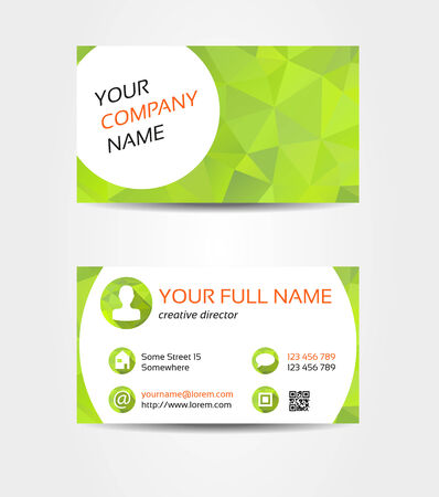 Isolated double sided business card in fresh green mosaic style  Vector