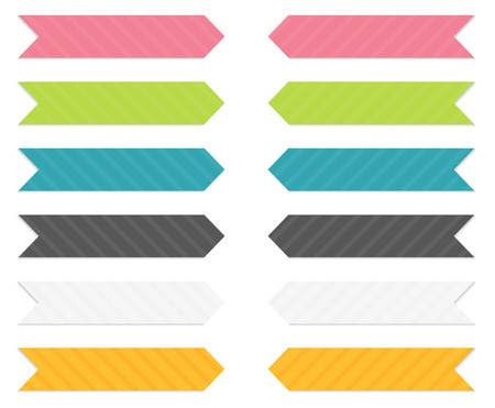 ribbon banner: Set of 6 isolated arrows  pointing ribbons   banners  with light shadow