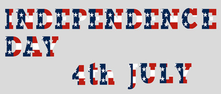 Isolated Independence day - 4th July text made of US flag parts Vector