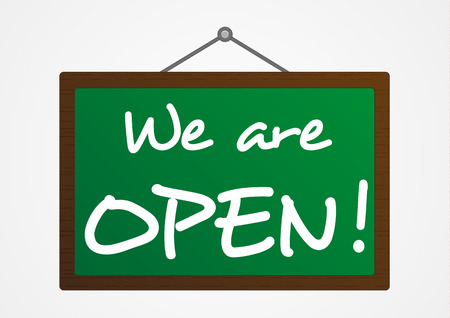 Isolated green board with We are open  sign Vector