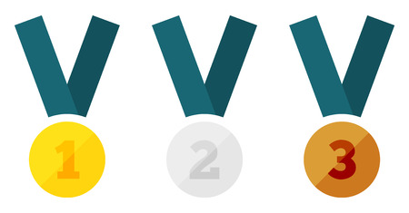 Set of 3 isolated medals with number representing places - 1 for gold, 2 for silver and 3 for bronze Vector