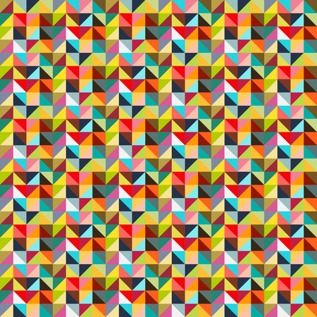 Seamless colorful triangle  mosaic  abstract pattern in bright vintage colors Vector