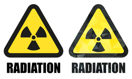 Set of 2 isolated radiation hazard signs - one classic and second in trendy mosaic style Vector